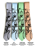 Bicycle Print Linen Neckties. Triple Cruiser Bike Ties, by Cyberoptix, Silver, light blue, green, copper.