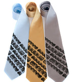 Bike Chain Stripe Neckties. Dark grey on sky blue, mustard, silver microfiber.