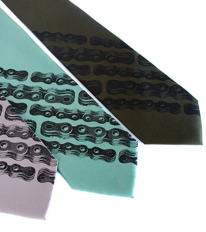 Bike Chain Stripe Silk Necktie