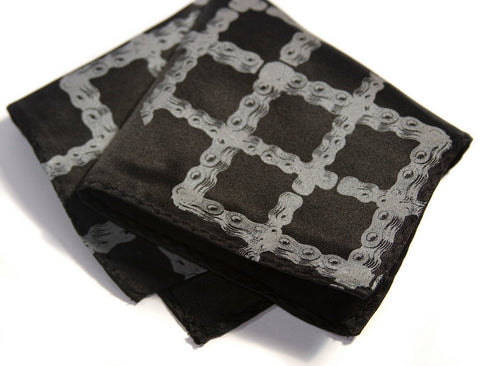 Bike Chain Tartan Pocket Square