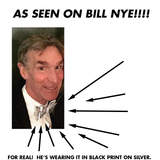 DNA bow tie: as seen on Bill Nye! Black on silver.