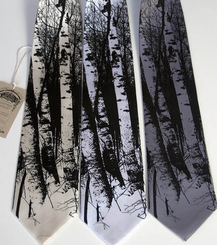 Birch Trees Silk Necktie