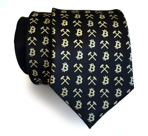 Bitcoin Silk Necktie, Cryptocurrency tie.