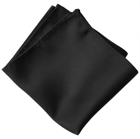 Black Pocket Square. Solid Color Fine-Stripe, No Print