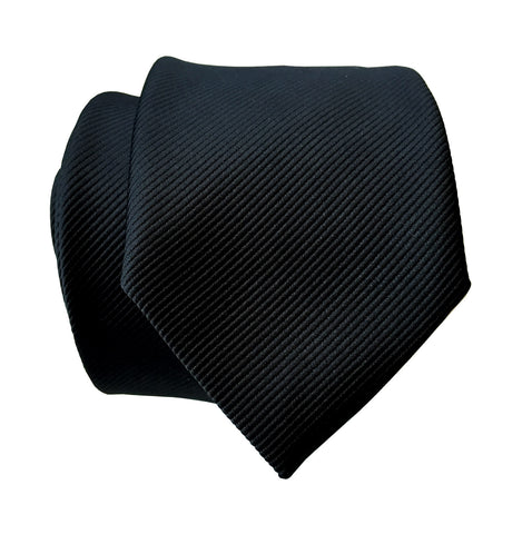 Black Necktie. Solid Color Fine-Stripe Tie, No Print