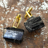 Black Tourmaline Cufflinks, rugged raw stone cuff links