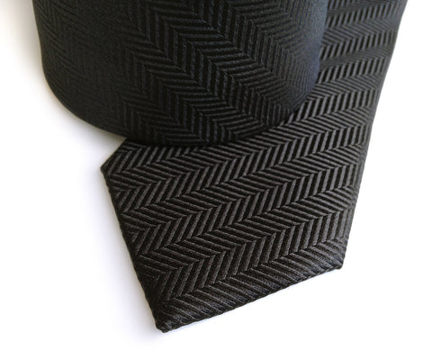Black Herringbone Silk Necktie