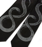Snake Necktie: Dove grey on black