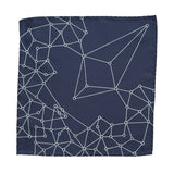 Blockchain Distributed Network Pocket Square, Ice on Navy Blue Print, by Cyberoptix
