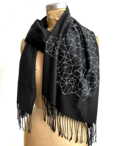 Blockchain Scarf, Distributed Network Visualization Linen-Weave Pashmina
