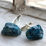 Blue Apatite Cufflinks, natural raw stone men's cufflinks