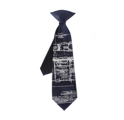 "Blueprint kids tie. ""Little Architect"" boys necktie."