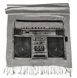 Boombox Print Scarf, linen-weave pashmina