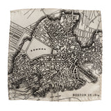 Boston Map Pocket Square. 1814 map vintage print, black on platinum, by Cyberoptix