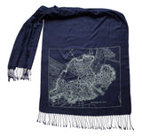 Boston Commons Map Linen-Weave Scarf, Old Map Print, by Cyberoptix