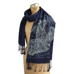 Boston Map Scarf, 1814 Vintage Map Linen-Weave Pashmina