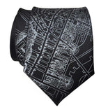 Boston Map Tie, Black 1814 Vintage Map Print Neckties. By Cyberoptix