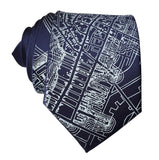 Boston Map Tie, Navy Blue 1814 Vintage Map Print Neckties. By Cyberoptix