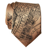 Boston Map Tie, Pale Copper 1814 Vintage Map Print Neckties. By Cyberoptix