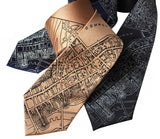Boston Map Neckties, 1814 Vintage Map Print Ties. Cyberoptix