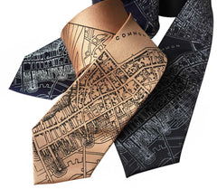 Boston Map Necktie, 1814 Vintage Map Print Tie
