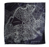 Boston Map Pocket Square. 1814 map vintage print, ice on navy blue, by Cyberoptix