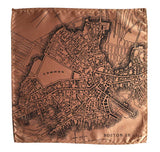 Boston Map Pocket Square. 1814 map vintage print, black on pale copper, by Cyberoptix