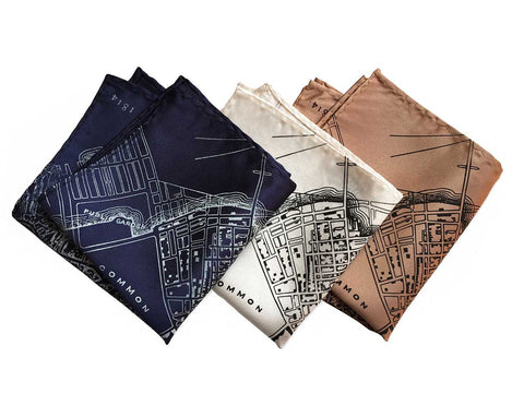 Boston Map Pocket Square. 1814 Vintage Print