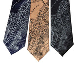 Boston Map Print Ties, 1814 Vintage Map Printed Neckties. By Cyberoptix