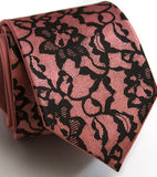 Boudoir Lace Necktie: Black on dark salmon narrow microfiber