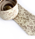 Boudir Lace tie: Ivory-cream print on peach microfiber