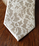 Boudoir Lace print necktie, by Cyberoptix. Ivory-cream on cream silk.