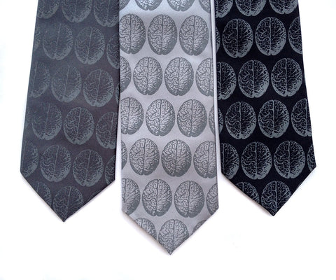 Brain Dot Necktie. Anatomical brain tie.