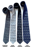 Brain necktie: Dove grey on charcoal, silver, black, navy.