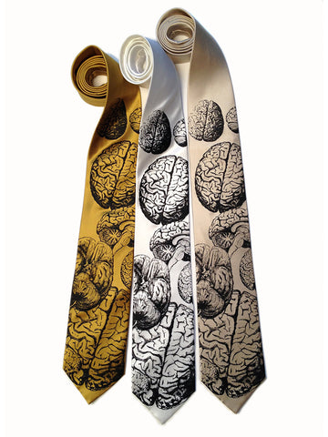 Anatomical Brain Silk Necktie. Brainstorming Tie