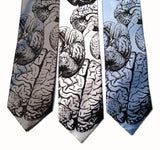 Cyberoptix Brain neckties. Black ink on silver, white, sky blue.