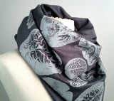 Brain scarf: steel on charcoal