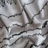 Brainwaves Sleep Waves Print Scarf, Black on Silver linen-weave pashmina, by Cyberoptix