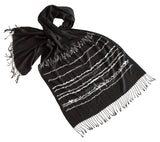 Brainwaves Print Scarf, White on Black linen-weave pashmina, by Cyberoptix