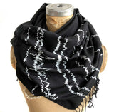 Brain Waves Print Scarf, White on Black linen-weave pashmina, by Cyberoptix