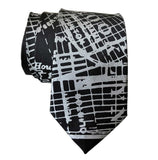 Brooklyn New York Necktie, Dove Grey on Black Tie, by Cyberoptix