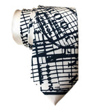 Brooklyn New York Necktie, Navy Blue on Cream Tie, by Cyberoptix