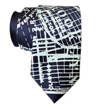 Brooklyn New York Necktie, Ice on Navy Blue Tie, by Cyberoptix