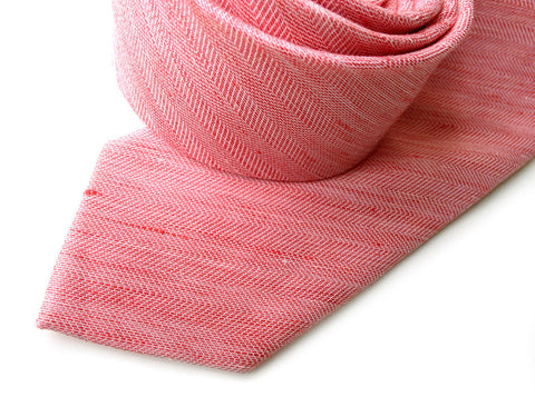Coral Pink Linen Necktie. Solid color tie, Brush Park