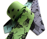 Insect Necktie. Spring green tie.