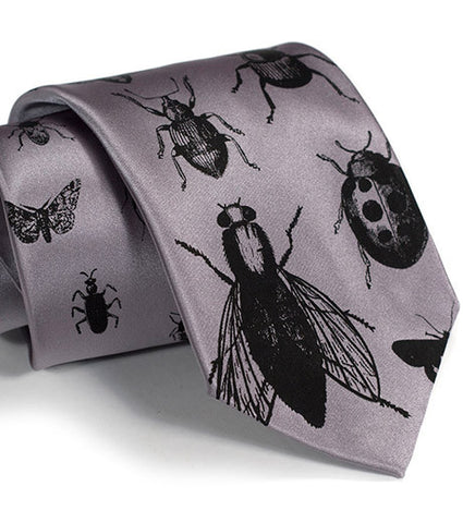 Insects Silk Necktie. Bug Print Tie