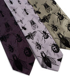 Men's insect neckties: Black on charcoal, silver, sage microfiber