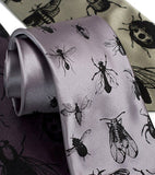 Bug Necktie. silver and black.
