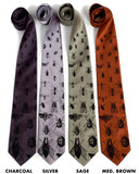 Bug ties: Black on charcoal, silver, sage, cinnamon.