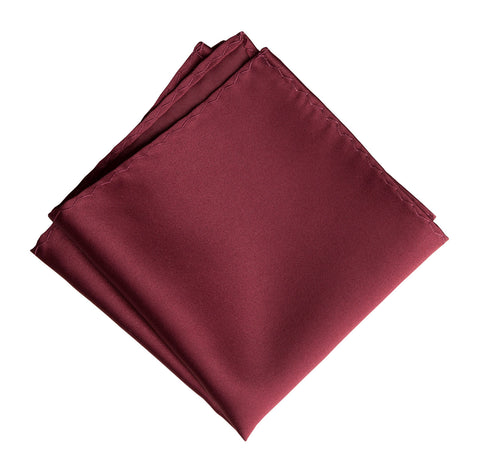 Burgundy Pocket Square. Solid Color Dark Red Satin Finish, No Print